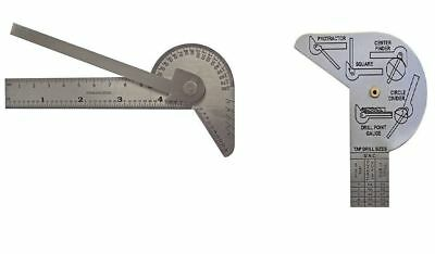 Multi Use Gauge Protractor / Center Finder / Drill Point Gauge / Circle Divider 2