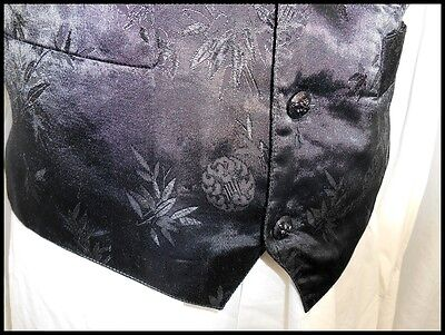 Vintage 90s Black Patterned Poly/Cotton Button Up Waistcoat Formal Prom Style S 3