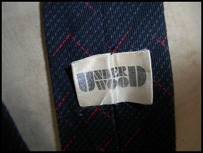 Vintage Charcoal Grey Patterned Underwood Cotton Neck Tie New Wave Punk