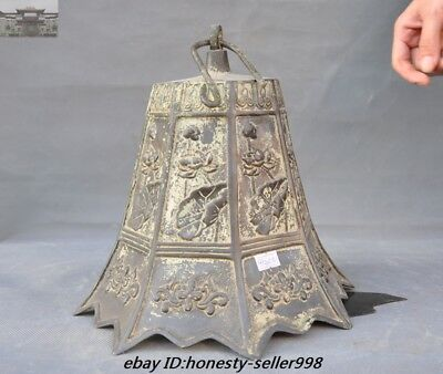 """23""""Old Chinese Buddhism Temple Bronze Lotus flower Hanging Pray Bell Zhong Bells 9"""