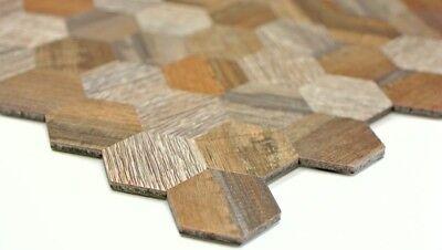 Mosaïque en finition bois auto-adhésif aluminium gris beige mur WC 200-23221 de coffre