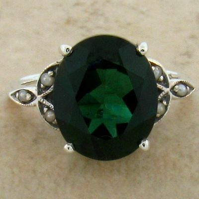 5 Ct. Sim. Emerald Pearl Antique Victorian Design .925 Sterling Silver Ring,#535 3