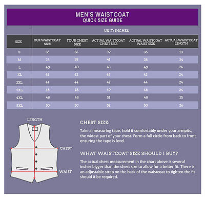 "Premium Satin Solid Plain Wedding Vest Men's / Boys Waistcoat & Tie 22""-50"" 2"