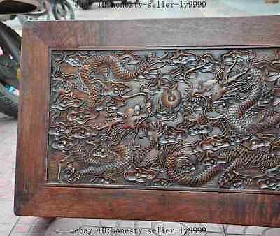 old chinese huanghuali wood carved dragon beast foo dog lion desk Tea table A 6