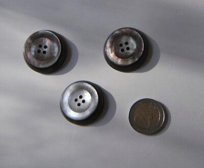 z079pm 5 perlmutt weiße Ösen Kunststoff Knöpfe mit schwarzen Punkten