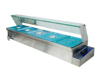 "6 "" Bain-Marie Buffet Steam Table Restaurant Food Warmer 110V High Quality 5 Pan 2"
