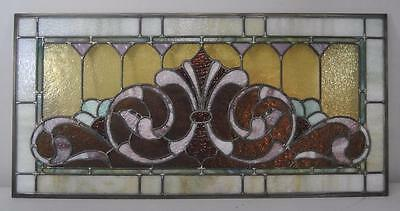Victorian Stained Glass Fleur De Lis Design Circa 1910 Greens Lilac and Rust 2
