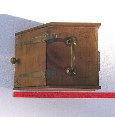 Antique or Vintage Wooden COAL SCUTTLE with brass hardware and metal insert 2