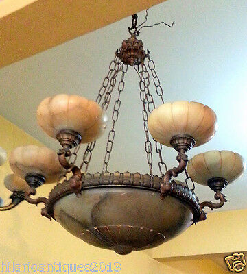 Marvelous Italian 1900 Bronze And Alabaster Ceiling Chandelier 110 H X 85 Cm 10