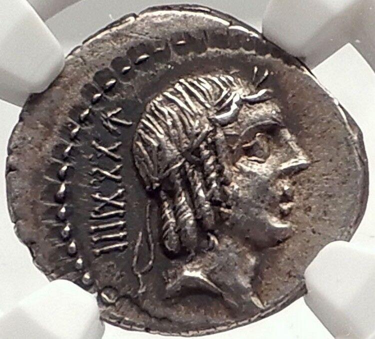 Roman Republic Rome 90BC Rome Apollo Horse Racing Ancient Silver Coin NGC i69804 2
