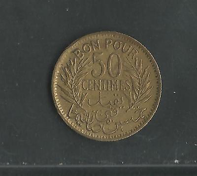 Tunisia,   Ah1360, 1941,  50 Centimes, Aluminum Bronze, Km#246,  Extra Fine 2