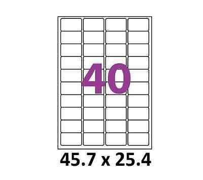 Planche A4 de 40 étiquettes autocollante 45.7 x 25.4 mm pour toutes imprimantes 2