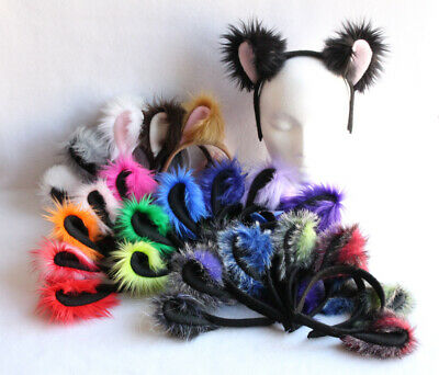 Details about  /BLUE furry kitty CAT HEADBAND EARS /& TAIL SET anime cosplay Comic-Con@Home