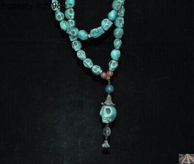 Tibet Turquoise carved Skeleton Devil Skull death-head Exorcism amulet Necklace 7