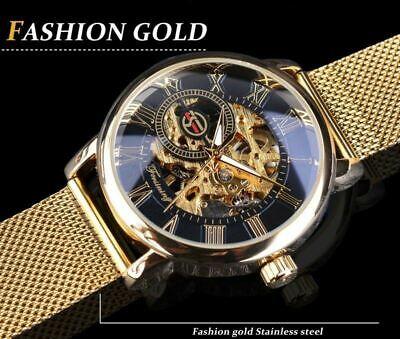 Men Skeleton Mechanical Wrist Watch Stainless Steel Luxury Steampunk Wristwatch 8