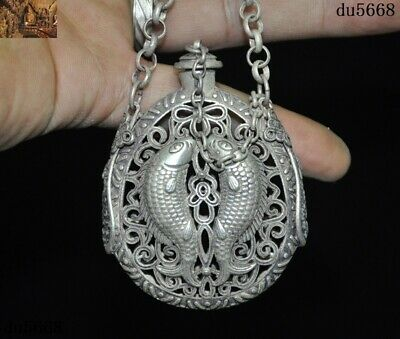 Ancient Old Chinese Tibetan Silver Double fish Incense bag Sachet amulet Pendant 3