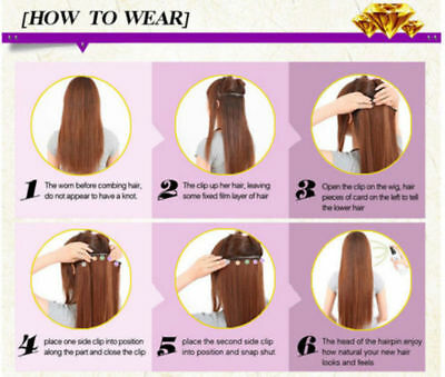 """Hair Extensions Real Thick 1PCS Half Head Clip In Long 18-28"""" feels human purple 10"""