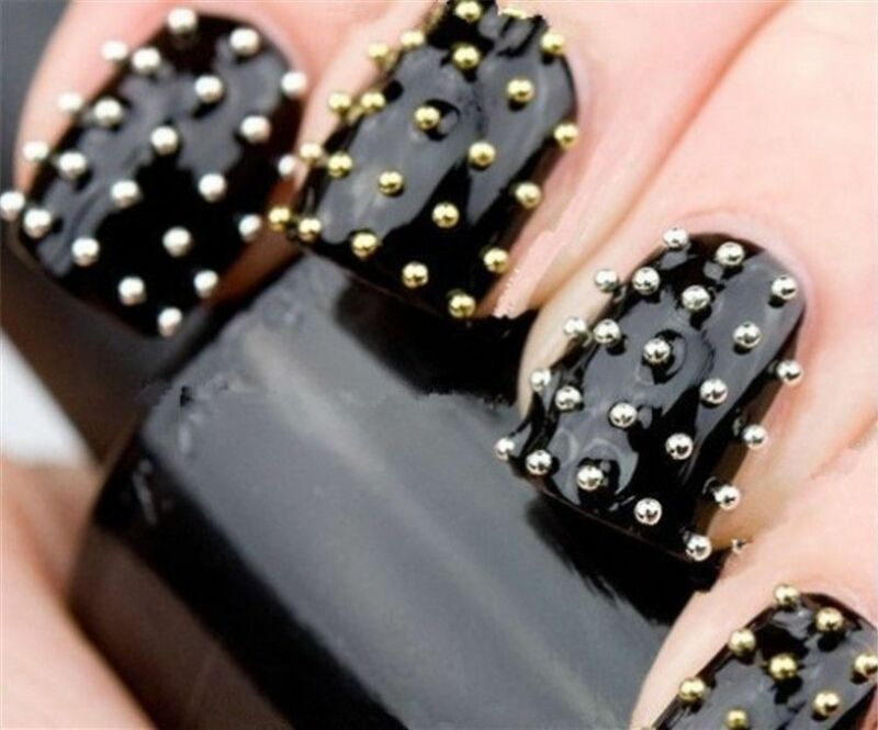 LOTS GOLD SILVER 3D Metal Nail Art Tips Fashion Metallic Studs ...