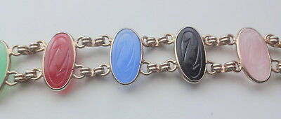 Antique Egyptian Revival Hand Carved Natural Stone Scarabs Double Row Bracelet 7