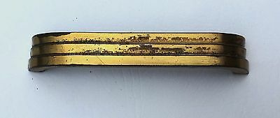 "Brass Antique Hardware Art Deco Drawer Pull MCM Mid Century Modern 4"" center"