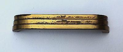 "Brass Antique Hardware Art Deco Drawer Pull MCM Mid Century Modern 4"" center 9"