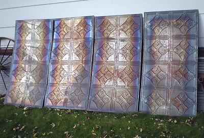 """24""""x48"""" Antique Iridescent Victorian Ceiling Tin w 8 Tiles Fleur De Li Chic 3"""