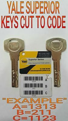 3x Yale Superior Keys cut to code on genuine Yale blanks by official Yale Centre