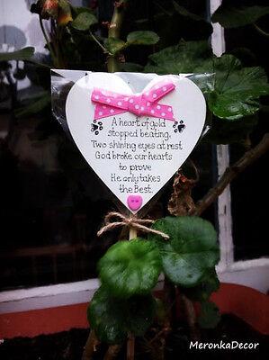 PET MEMORIAL-Personalised Dog-Cat Outdoor, Waterproof Grave Stick Plaque-Pink 2