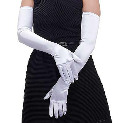 """21"""" Long Flapper Evening Opera Satin Gloves For Womens Ladies Elbow Length 1920s 2"""