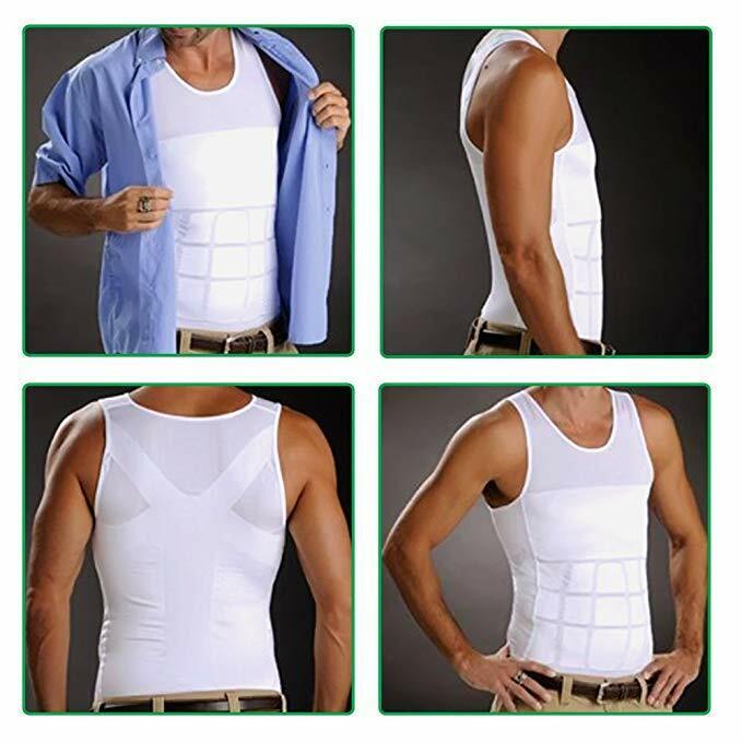 US Mens Slim Fit Shirt Body Shapers Vest Compression Tank Top Moobs Lift Corset 11