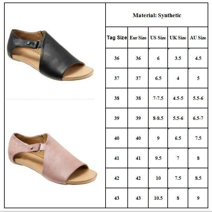 Womens Ladies Peep Toe Buckle Flat Sandals Summer Holiday Boots Shoes Size 3.5-8 2