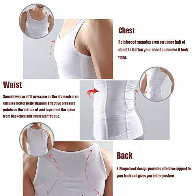 US Mens Slim Fit Shirt Body Shapers Vest Compression Tank Top Moobs Lift Corset 5