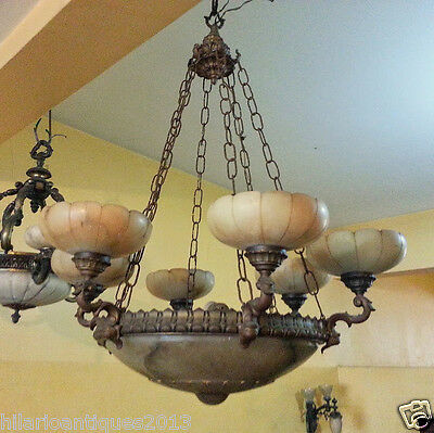 Marvelous Italian 1900 Bronze And Alabaster Ceiling Chandelier 110 H X 85 Cm 9