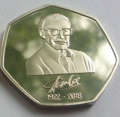 Unofficial Marvel Rare 50p Coin Pence Shape Custom Made Solid Token Stan Lee 11
