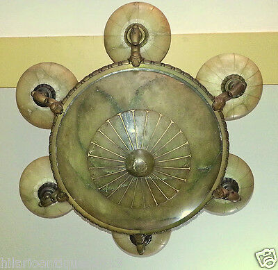 Marvelous Italian 1900 Bronze And Alabaster Ceiling Chandelier 110 H X 85 Cm 12