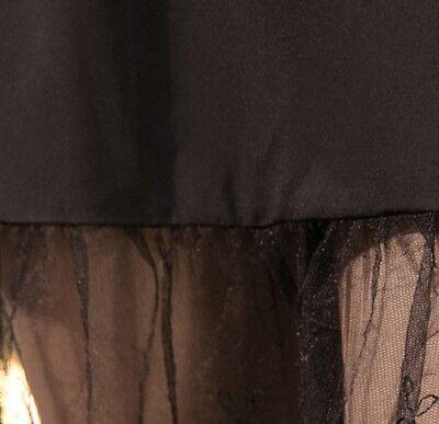 Frauen Spitze Slipper Rock Verlängerung Knielang A-Line Blumenmuster Unterrock 9