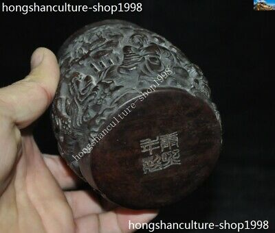 Marked Chinese Dynasty Ox horn Carved Pine tree Old Man Drum shape Box Boxes 12