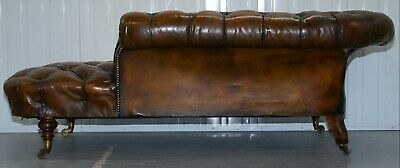 Howard & Son's Restored Brown Leather Chesterfield Chesterbed Walnut Framed 10