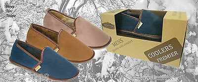 MENS MICROSUEDE SLIPPERS  7 8 9 10 11 12 Tan / Toupe / navy  Full Foot Shoes 3