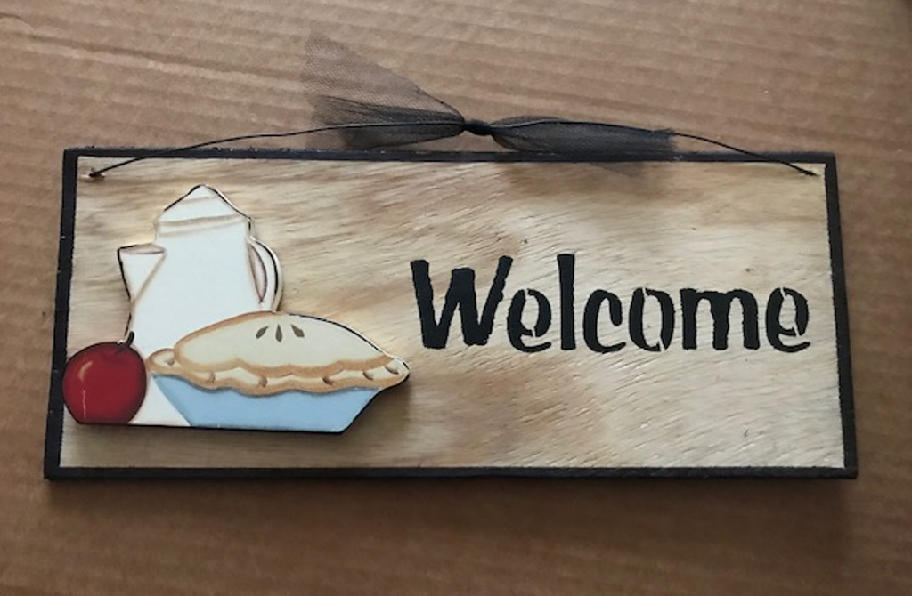 magnet country sign shelf sitter Wood APPLE PIE COFFEE POT KITCHEN decor Hang