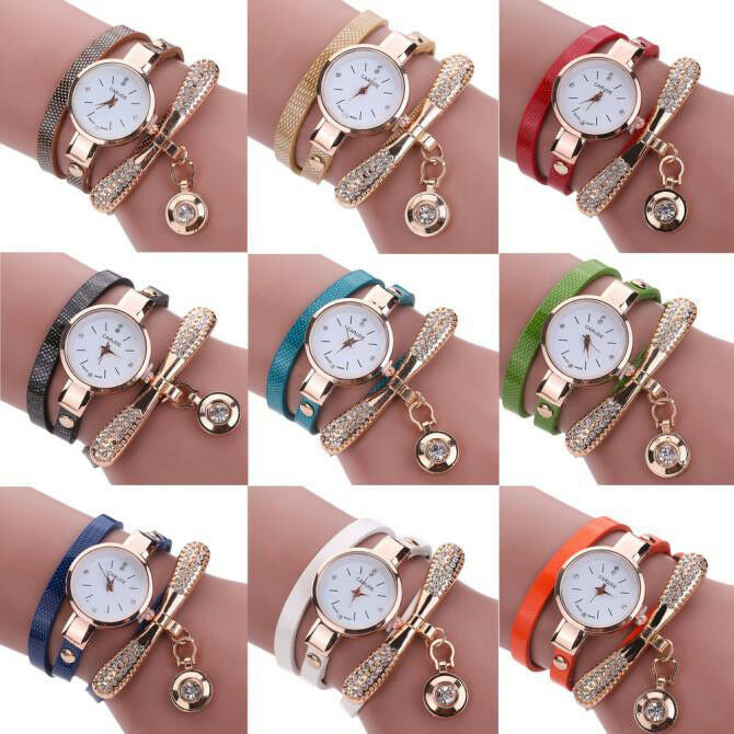 Fashion Women Ladies PU Leather Rhinestone Analog Quartz Wrist Watches New Watch 2