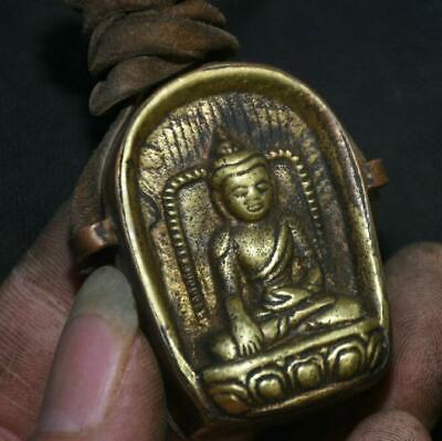5CM Old Tibetan Bronze Buddhism Shakyamuni Amitabha Buddha Gawu Box h908 2