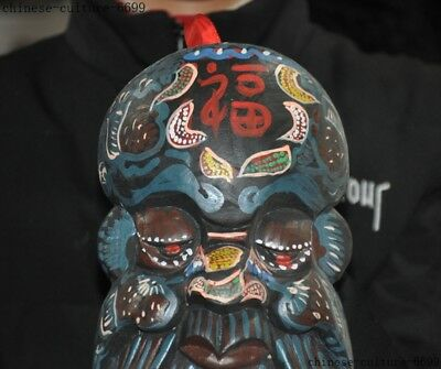 """10""""  Rare Old China Wood Painting Hand Carving Shouxing Immortal God Mask Statue 2"""