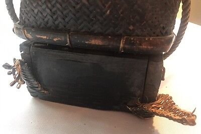 Antique Early Asian Pacific Philippines Artesanial Basket w/Cover & Base