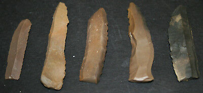 10 Egyptian Faiyum Predynastic Flint Flaked Hand Stone Tools 7400-6400 BC #1 2