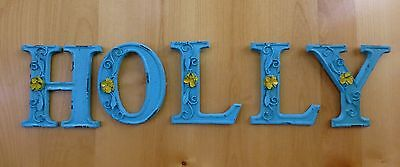 "BLUE CAST IRON WALL LETTER ""T"" 6.5"" TALL rustic vintage decor sign child nursery 8"