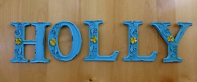 "BLUE CAST IRON WALL LETTER ""V"" 6.5"" TALL rustic vintage decor sign child nursery 8"