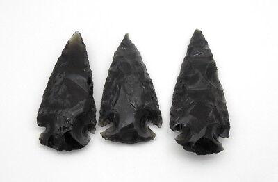 "2 "" Black Obsidian Flint Arrow Heads Spear Points Native Stones 5 Arrowheads 2"