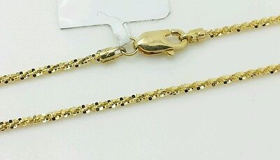 """14k Solid Yellow Gold Diamond Cut Sparkle Necklace Chain 18/"""" 1.1mm"""