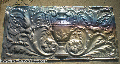 Antique Iridescent Victorian Ceiling Tin Tile Acanthus Flowers Urn Leaves Chic 2